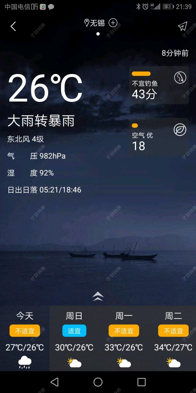 台风中心的气压很低