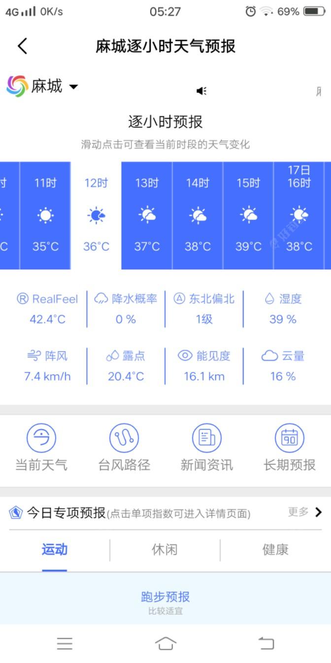看今天的天气预报: 最高温度还有39℃,想想?早去早回应该问题不大😃😃😃