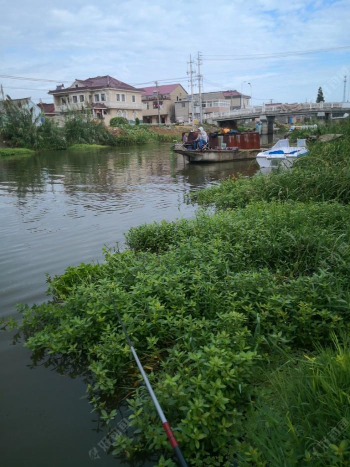 择一个码头作为钓位。鱼竿是准备用两根,一根6.3米,钓远(河中间),一根5.4米,钓近点。主线2.0,子线0.6,5号伊豆歪嘴钩,浮漂是一号纳米漂,吃铅是