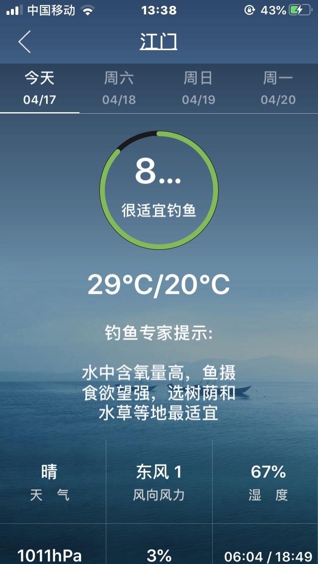 附上之前出发时平台的天气预报