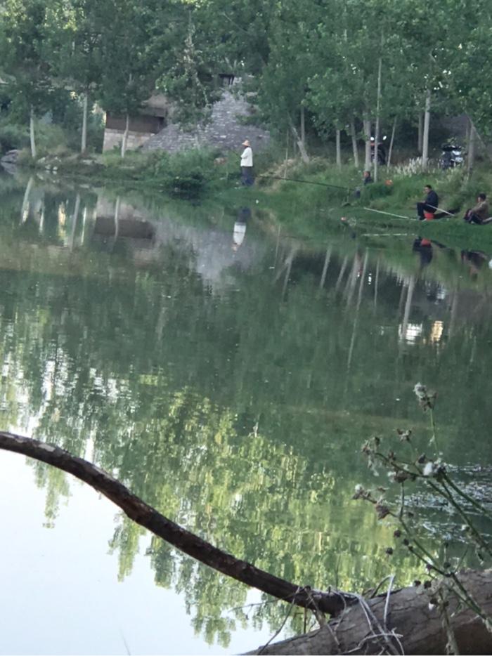 右边的钓友们早早的来到了,正在钓鱼。