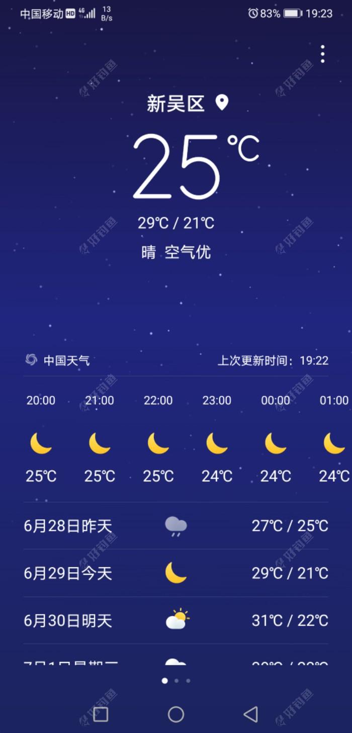 二十八日夜晚晴天,气温极为凉爽舒适!