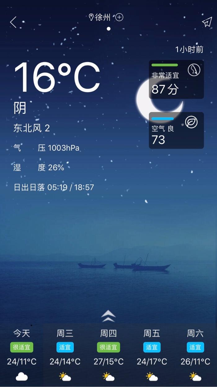 好钓鱼平台上的天气预报及钓鱼指数,今天是个钓鱼的好日子,徐州非常适宜钓鱼。