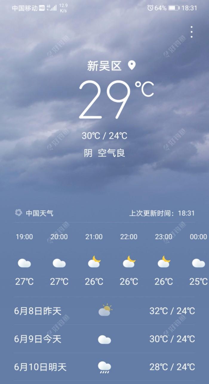 临近六点显示没雨,再临近七点也没雨了!