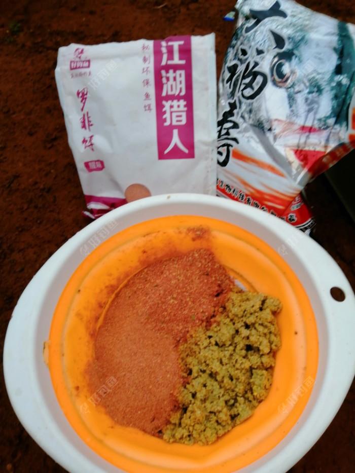 开饵,颗粒饵泡散40%,江湖猎人罗非饵30%,大福寿30%。